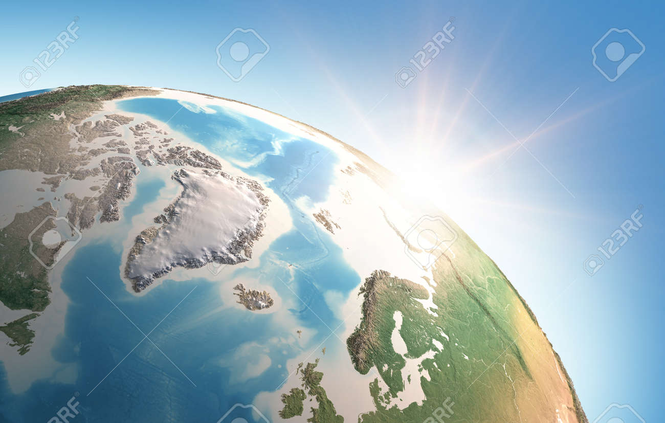Sun shining over a high detailed view of Planet Earth, focused on North Pole, Greenland and Arctic Ocean. 3D illustration - - 166788673