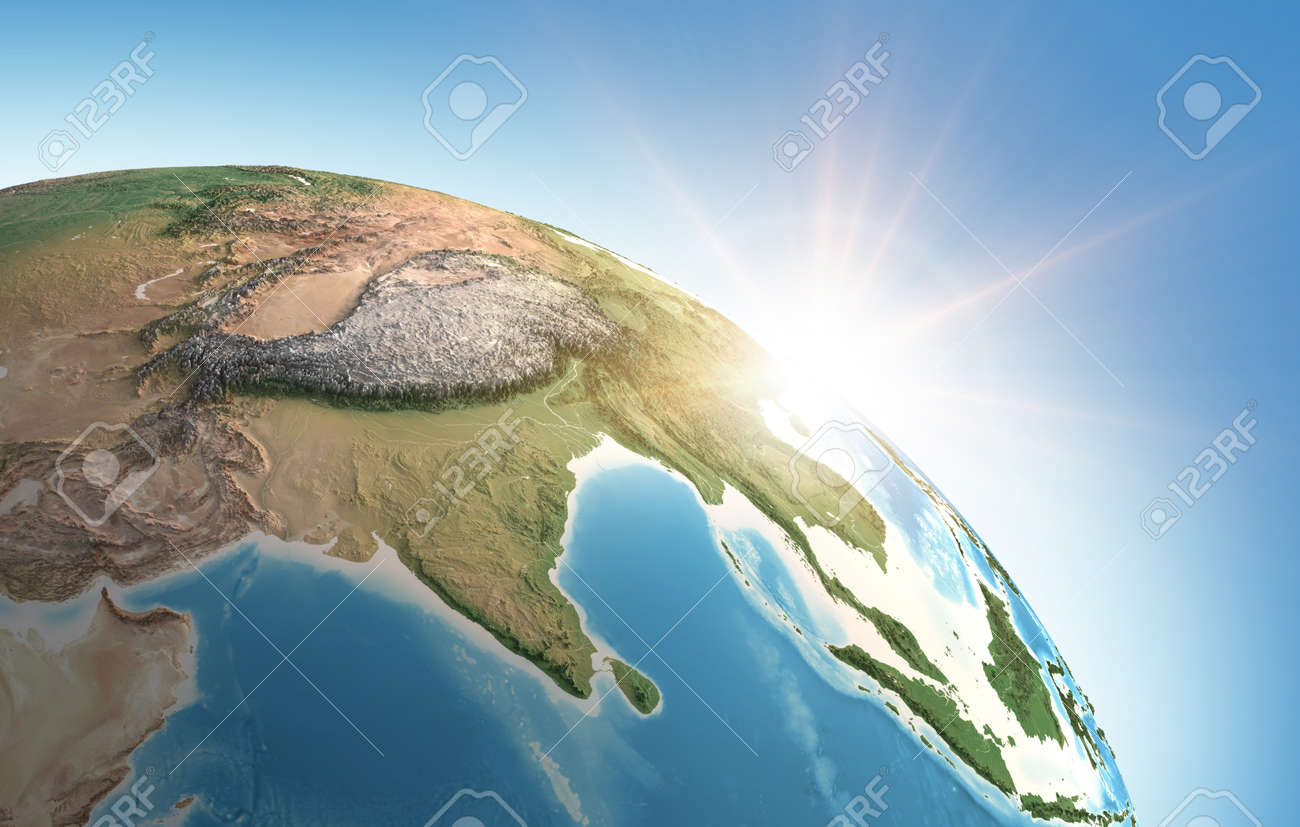 Sun shining over a high detailed view of Planet Earth, focused on Asia, India, Himalayas and Tibet. 3D illustration - Elements of this image furnished by NASA - 166867458