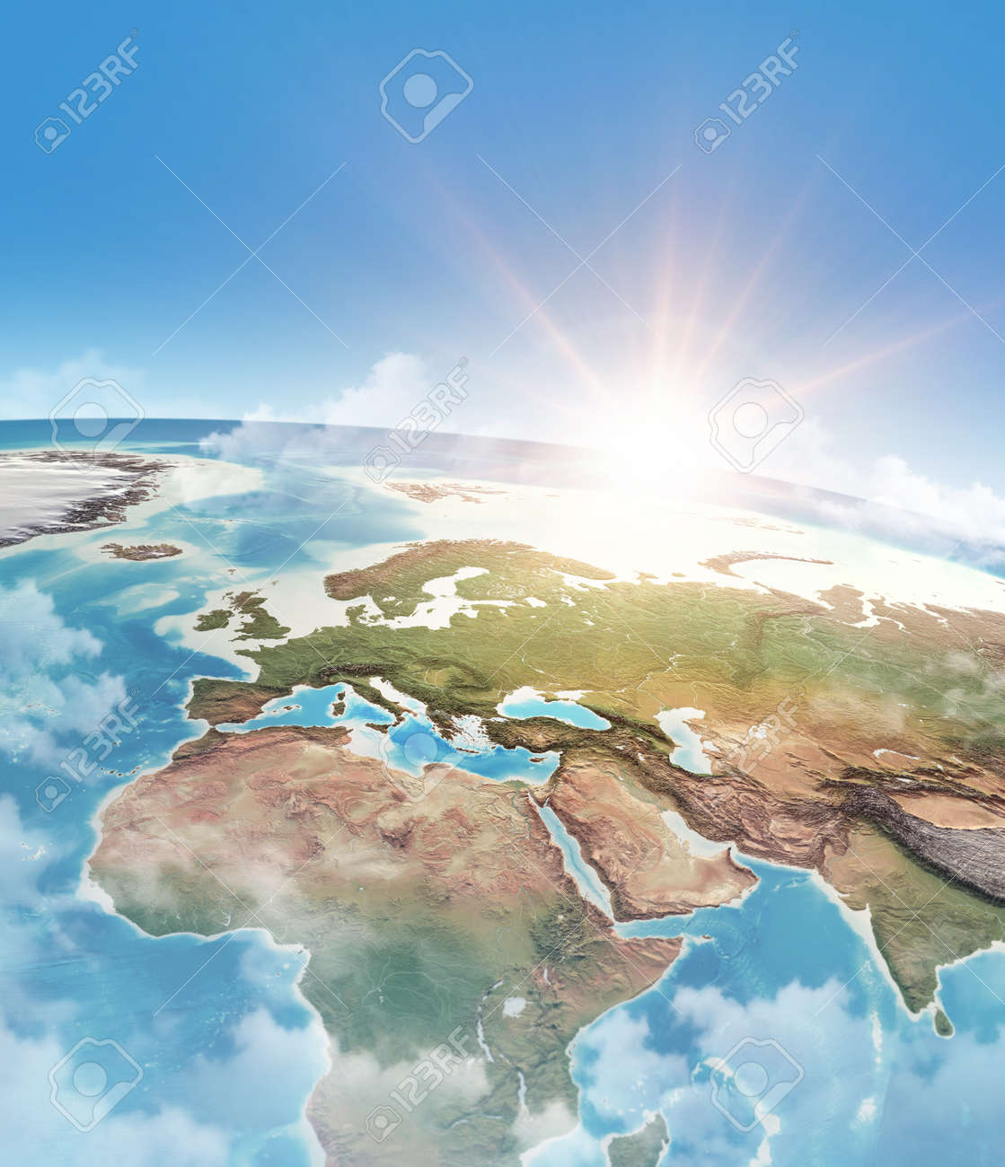 Sun shining through clouds, in blue sky, over a high detailed satellite view of Planet Earth. 3D illustration - 167169842