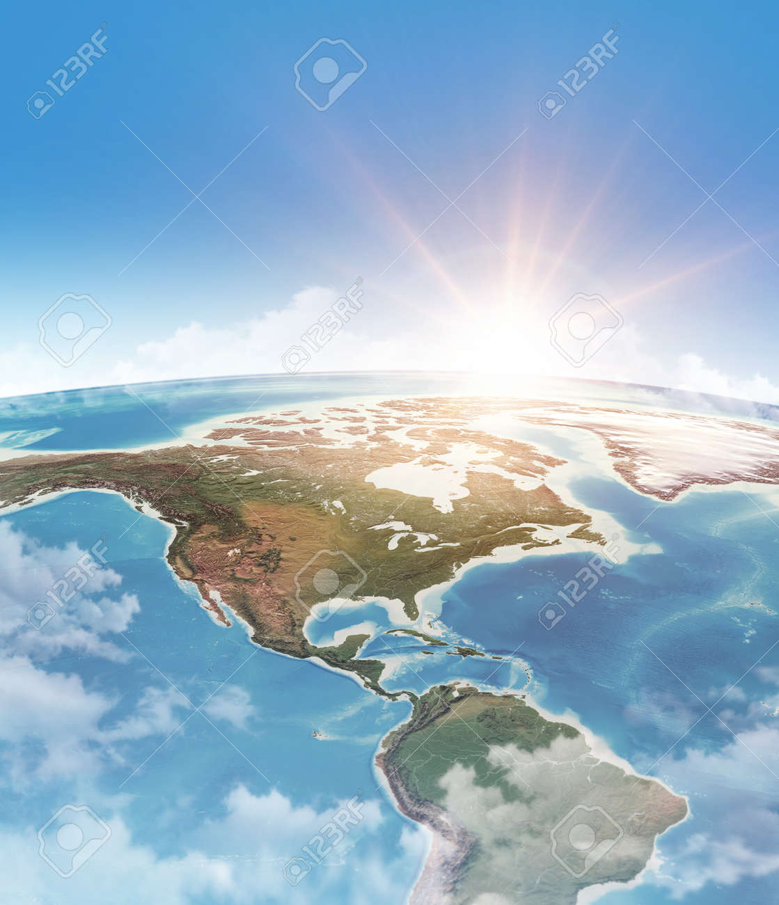 Sun shining through clouds, in blue sky, over a high detailed satellite view of Planet Earth, focused on America. 3D illustration - 167153511