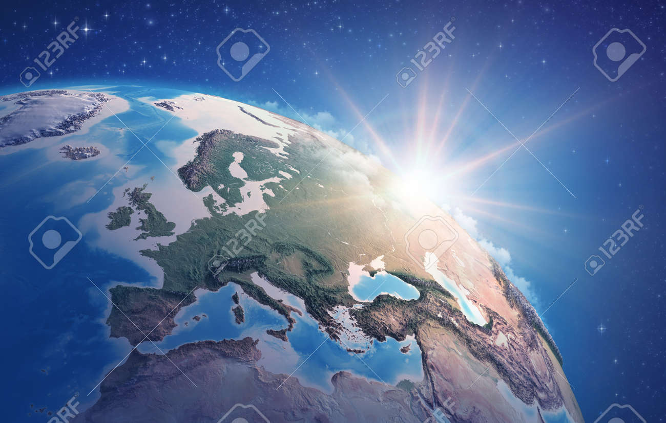Sunrise through clouds, upon a high detailed satellite view of Planet Earth, focused on Western Europe. 3D illustration - 167169787