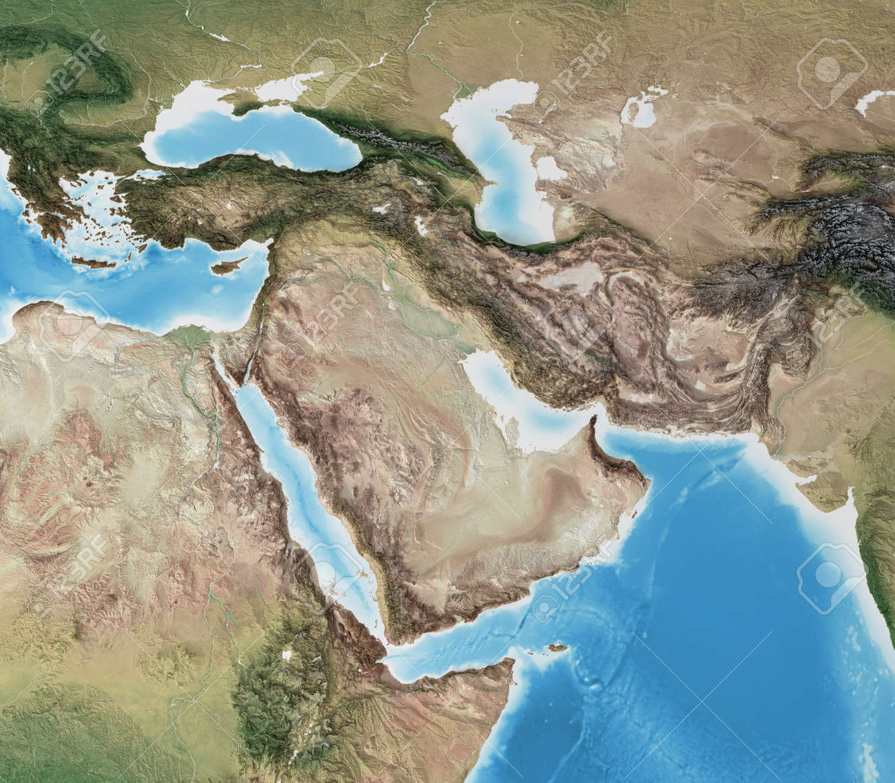 Physical map of Middle East, with high resolution details. Flattened satellite view of Planet Earth, its geography and topography. 3D illustration - 167169789