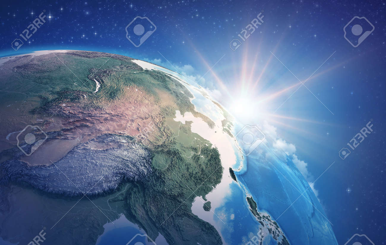 Sunrise through clouds, upon a high detailed satellite view of Planet Earth, focused on China, East Asia. 3D illustration - 167169794