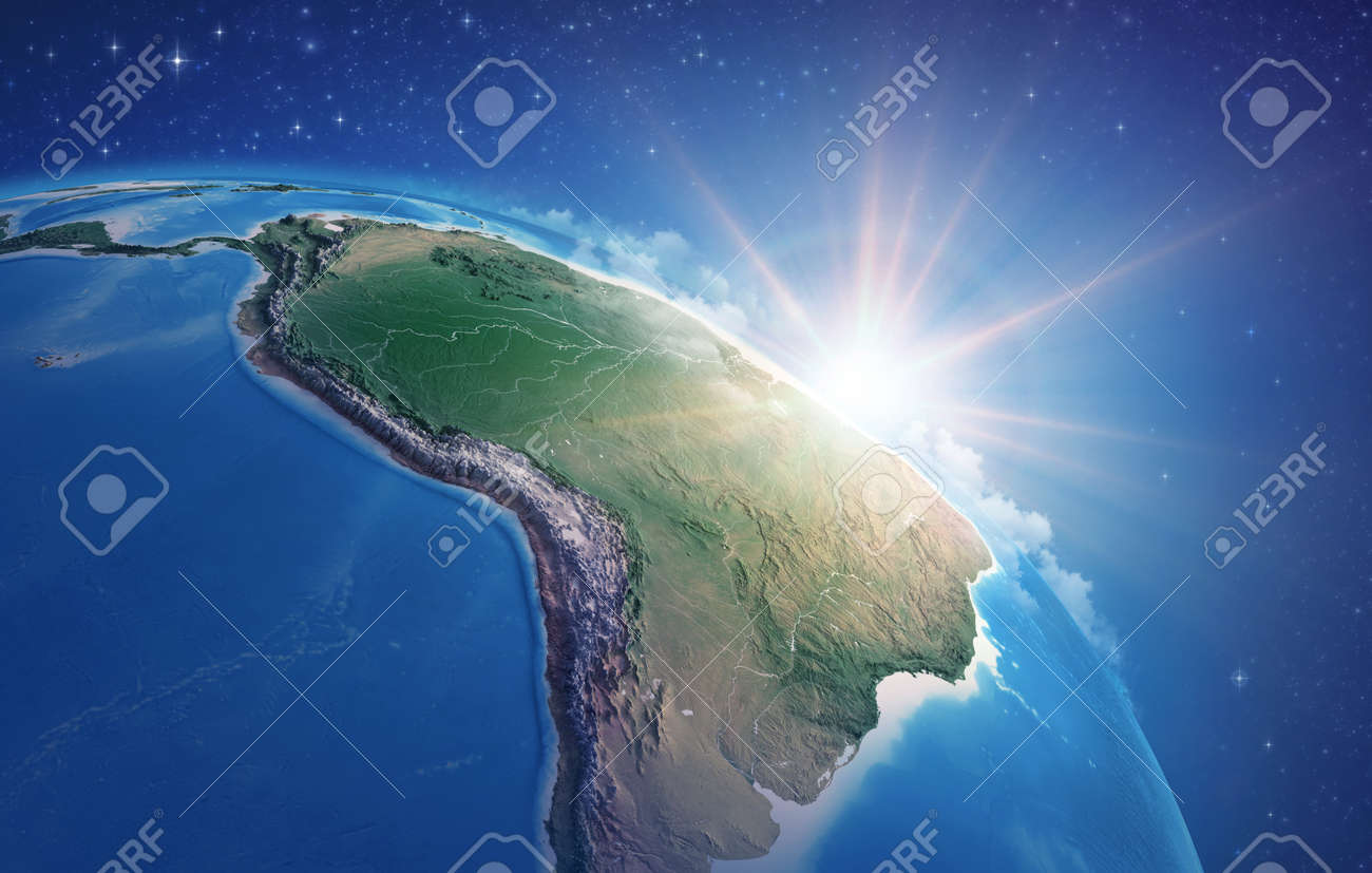 Sunrise through clouds, upon a high detailed satellite view of Planet Earth, focused on South America, Amazon rainforest and Brazil. 3D illustration - 167169836