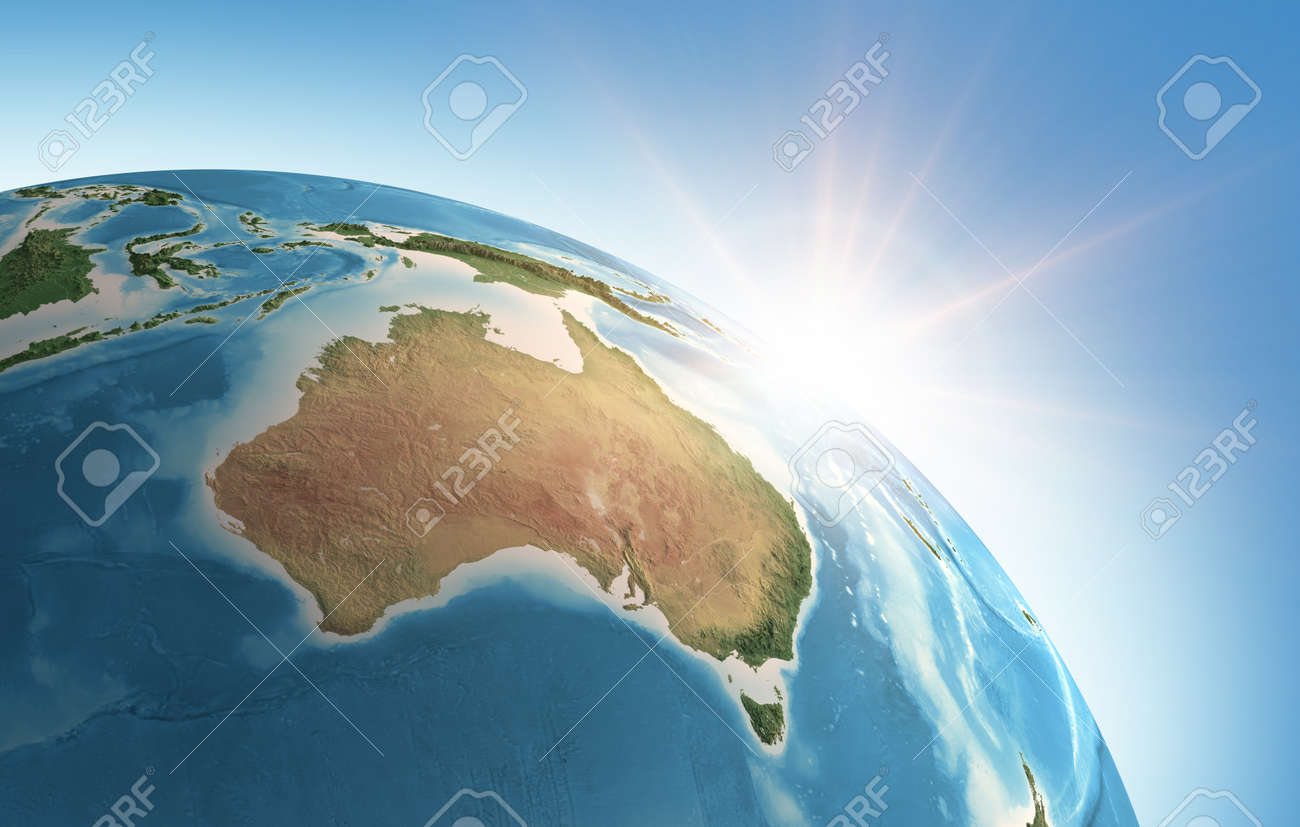 Sun shining over a high detailed view of Planet Earth, focused on Australia. 3D illustration - 167169837