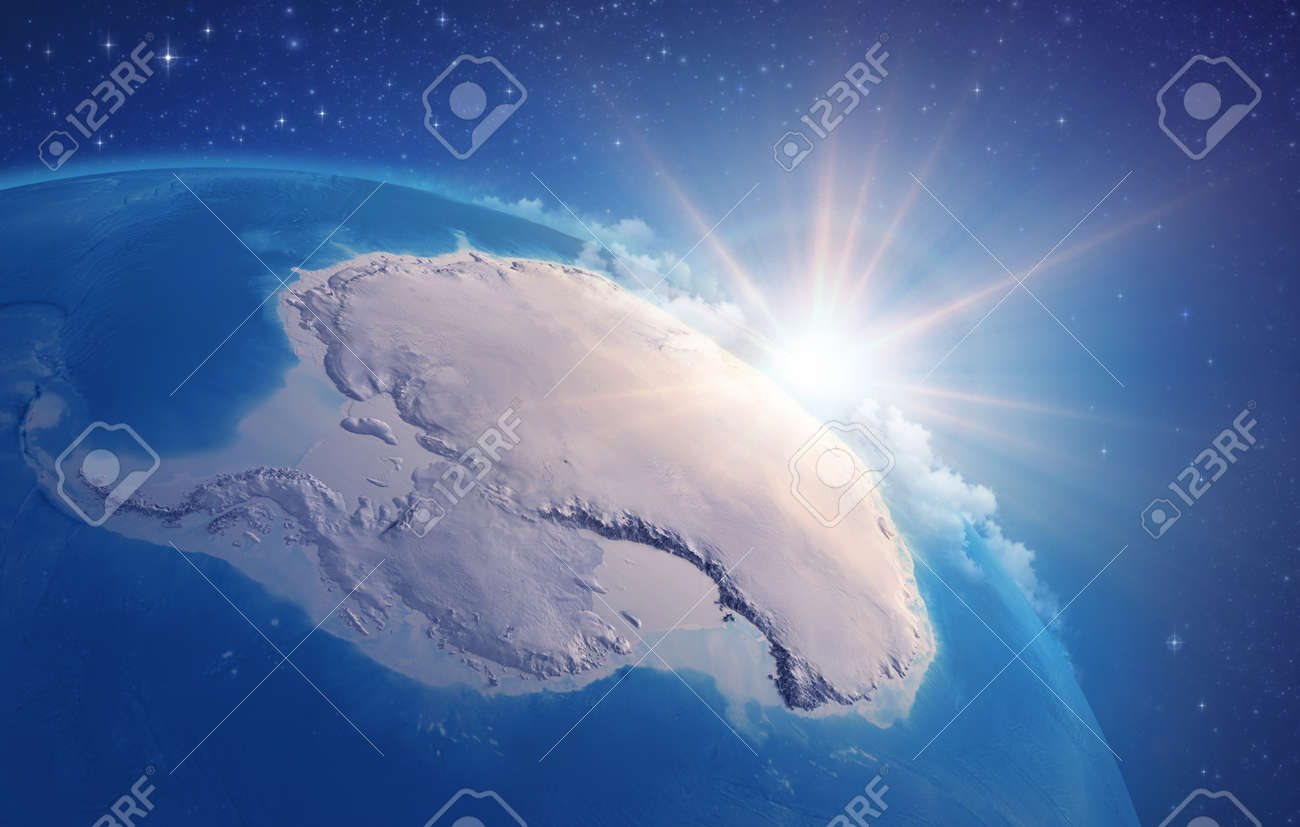 Sunrise through clouds, upon a high detailed satellite view of Planet Earth, focused on South Pole, Antarctic. 3D illustration - 167588235