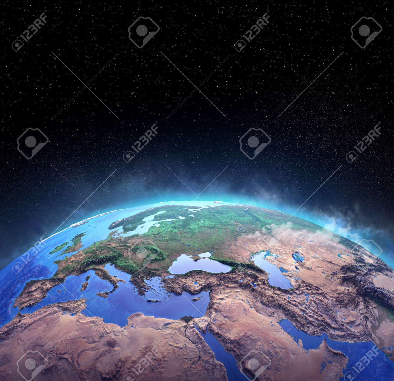 Surface of Planet Earth, high detailed satellite view of the world from space. 3D illustration - 167588237