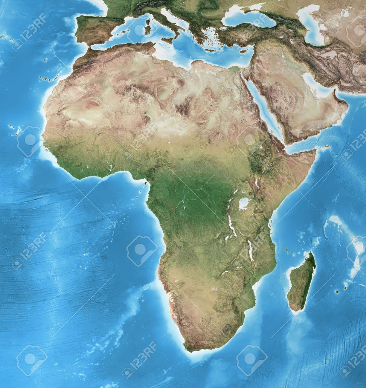 Physical map of Africa, with high resolution details. Flattened satellite view of Planet Earth, its geography and topography. 3D illustration - 167588238