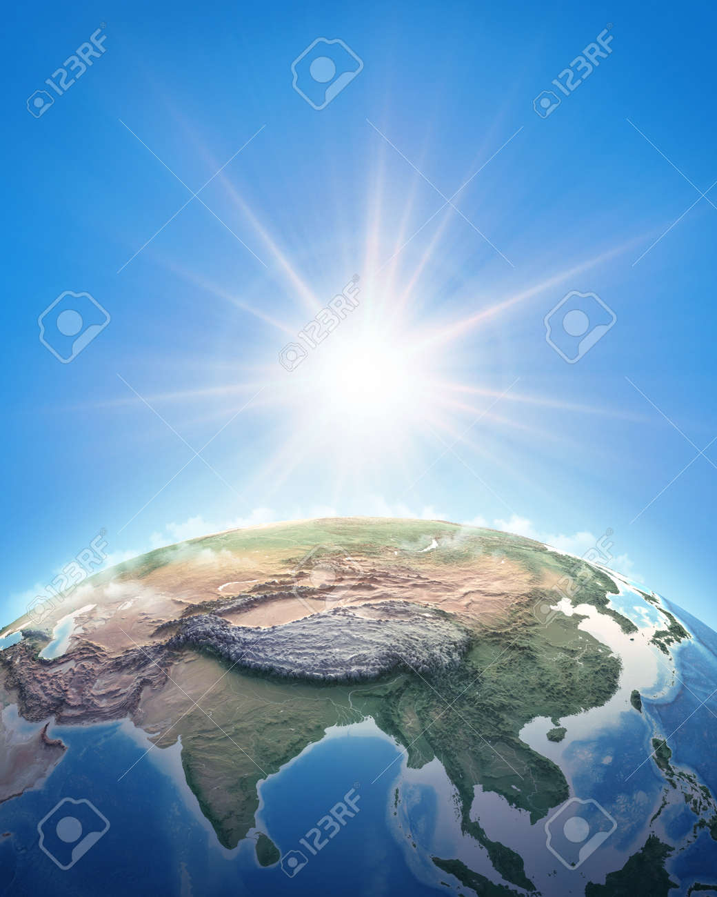 Sun shining over a high detailed view of Planet Earth, focused on East Asia, China and Himalayas. 3D illustration - 167588244