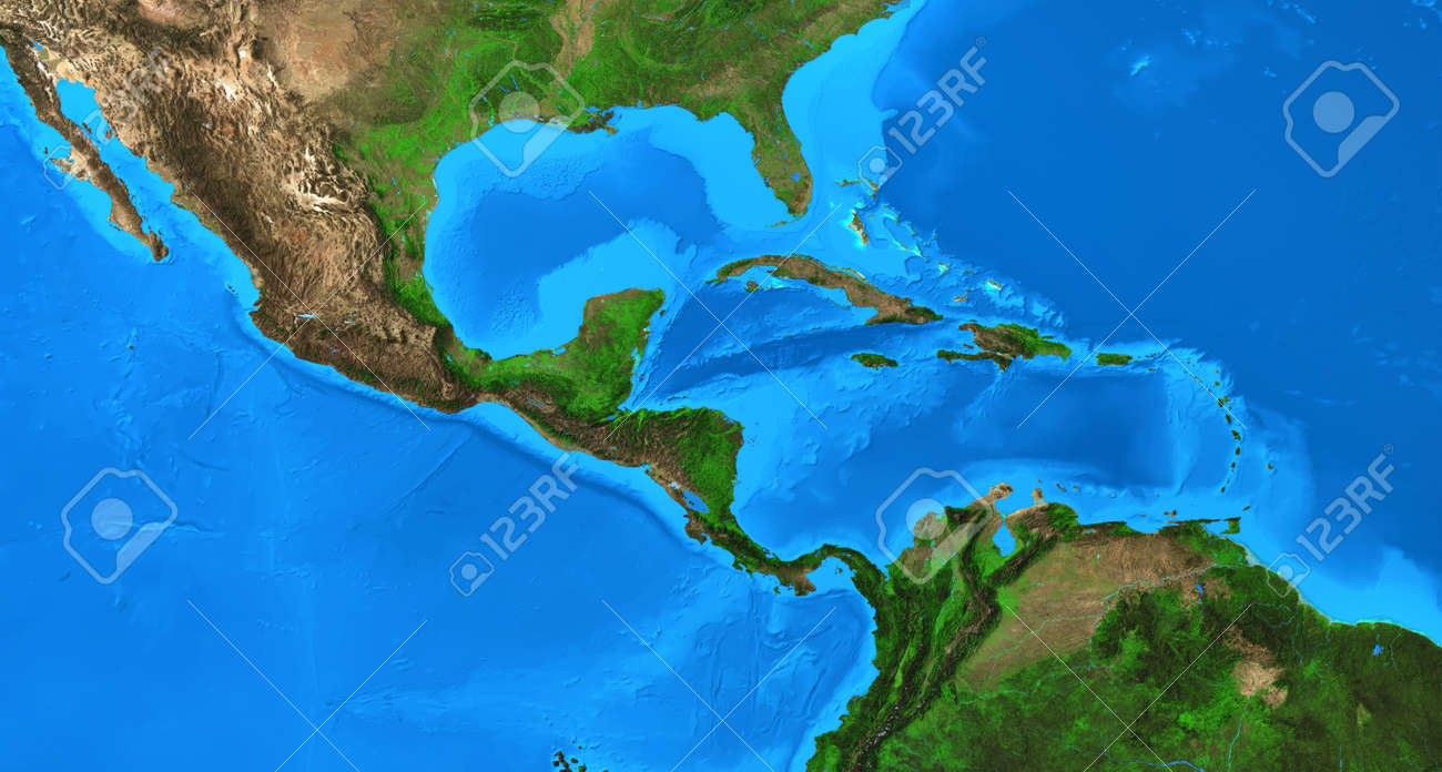 Physical map of Central America and the Caribbean. Detailed flat view of the Planet Earth and its land forms. 3D illustration - 168155268