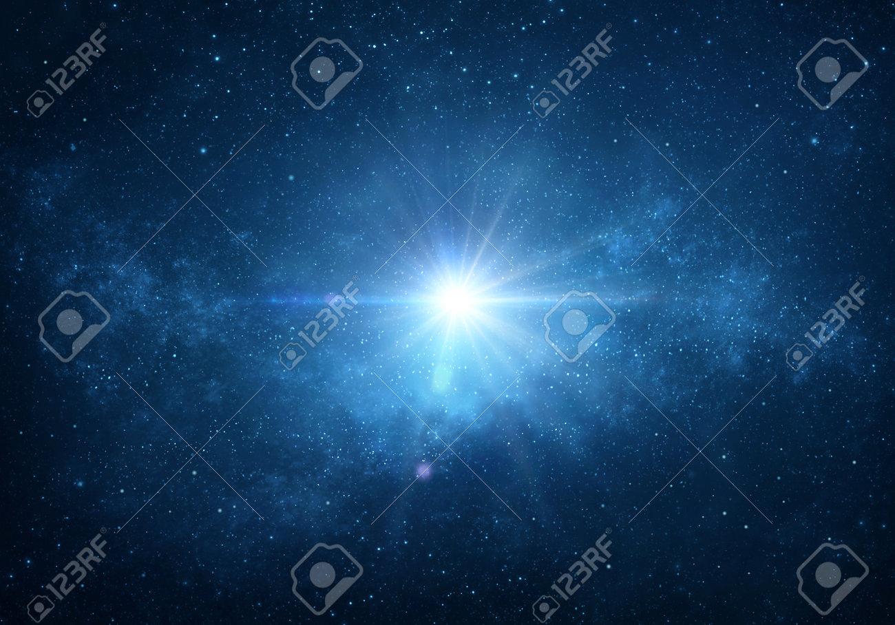 Star light, explosion, glow, burst, blast into deep space, night sky. Cosmic nebula, glalaxy, milky way in Universe. - 168155264