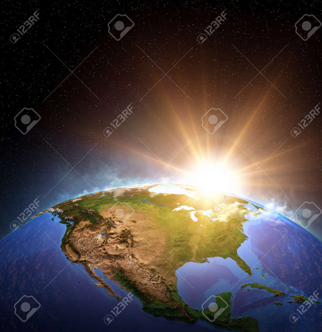 Surface of Planet Earth from space, focused on North America, USA. Sunrise, explosion, impact on the horizon. 3D illustration - 169824955