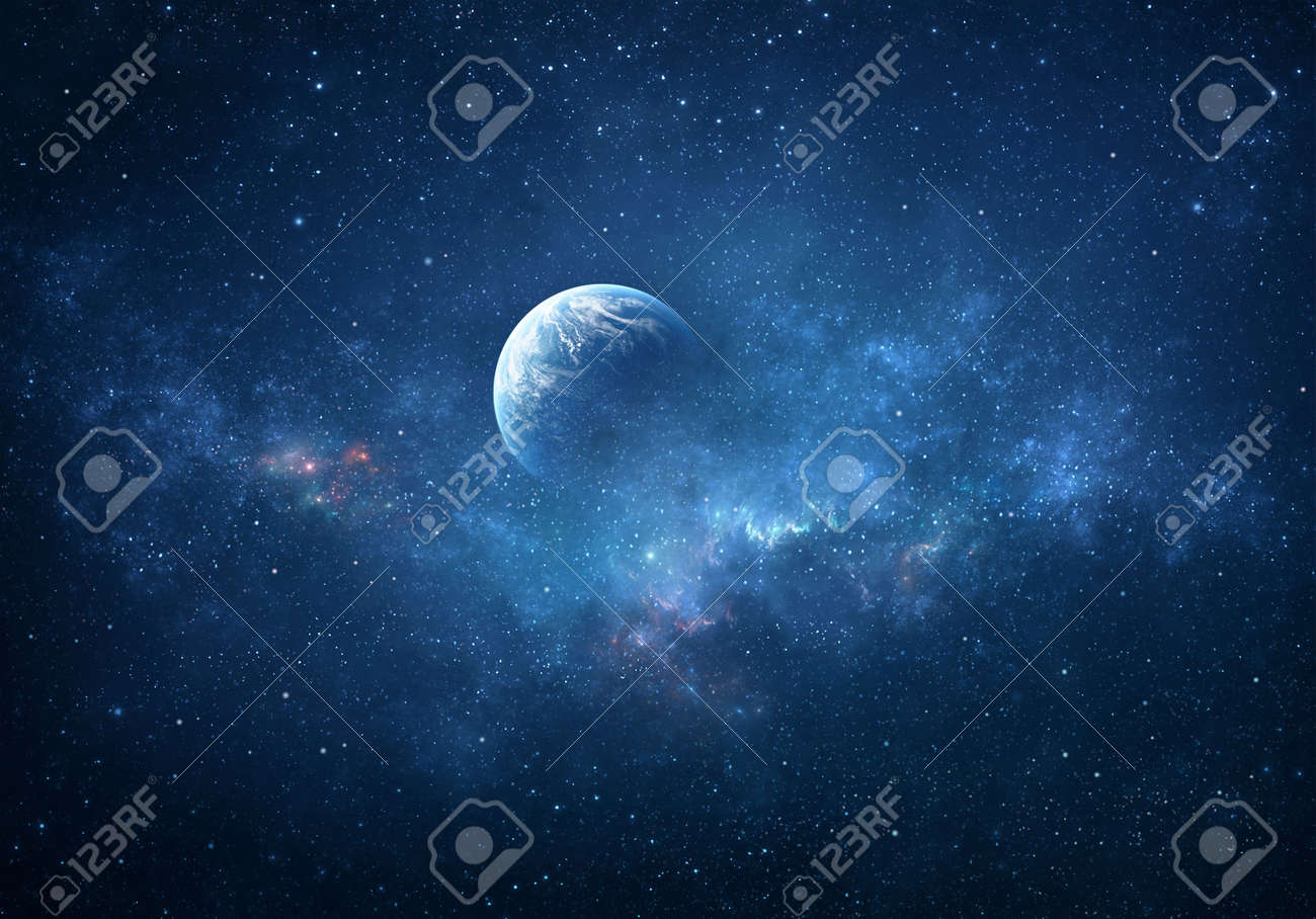 Planet and star clusters shining into deep space. Glittering stars and nebulas. Fragment of Universe. - 169824960