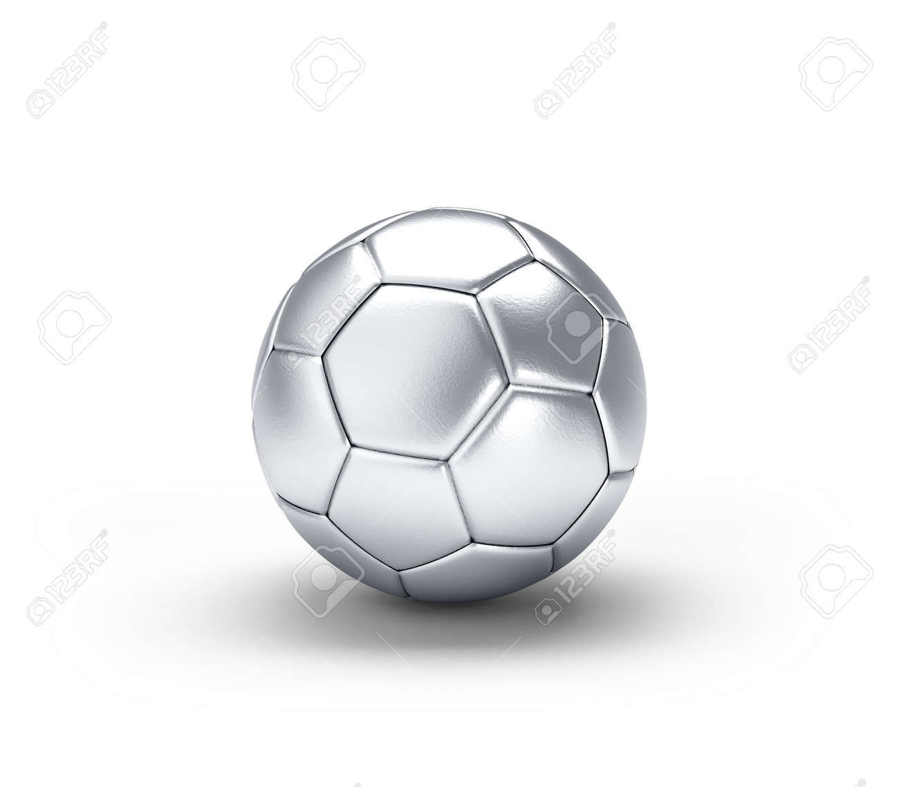 Silver soccer ball isolated on white background. 3d illustration. - 169824966
