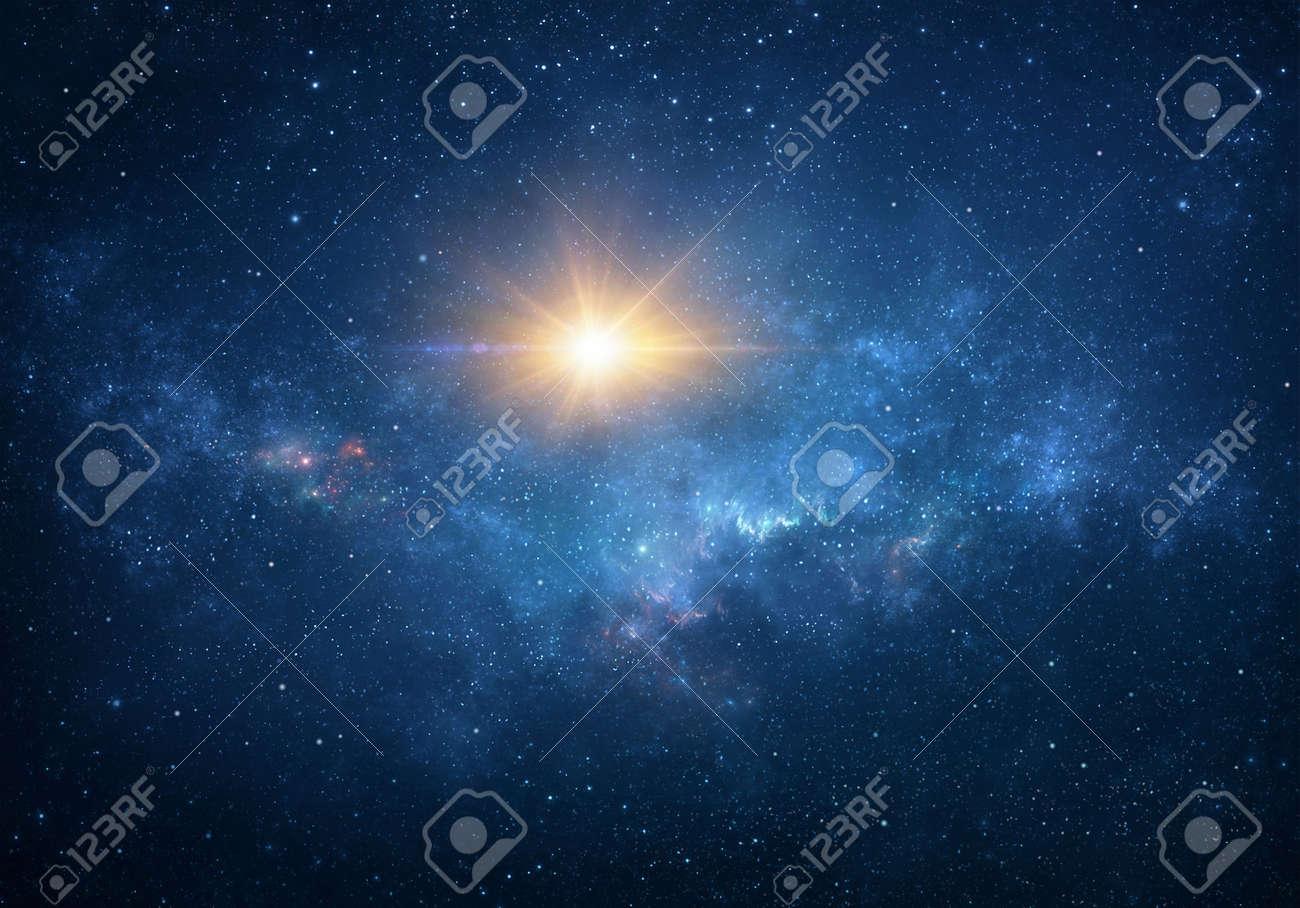 Sun, star light, explosion, glow, burst, blast into deep space. Cosmic nebula, galaxy, milky way in Universe. - 169824969