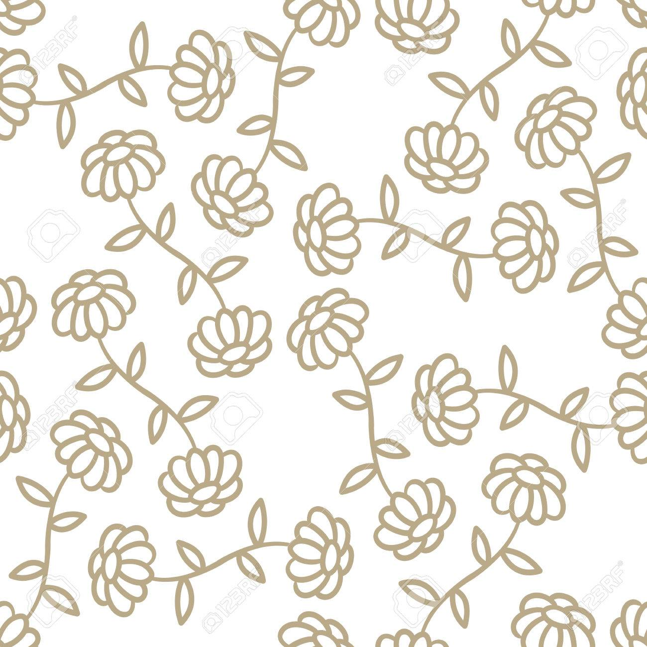 Seamless Simple Flower Vector Background Royalty Free Cliparts