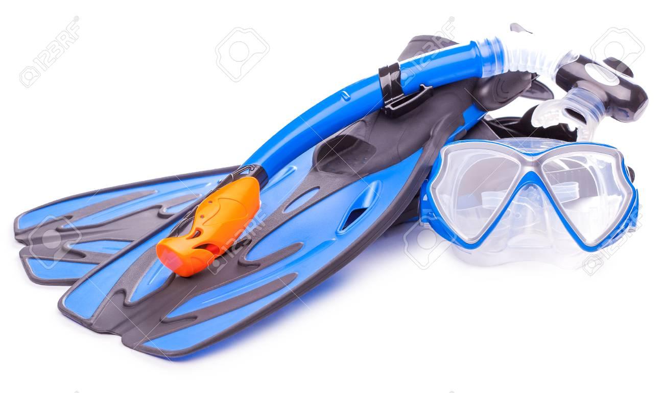2cbaecc0ed4539 Blauwe Duikbril, Snorkel En Flippers. Geïsoleerd Royalty-Vrije Foto ...