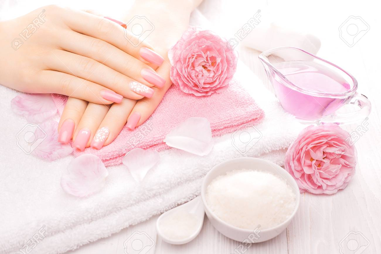 French Manicure With Sea Salt And Essential Oils And Tea Rose ...