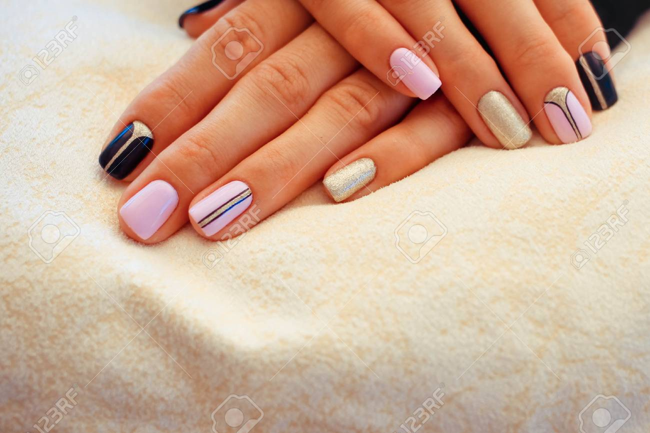 Natural nails, gel polish. Nail art design for the fashion style. Stock  Photo - Natural Nails, Gel Polish. Nail Art Design For The Fashion Style