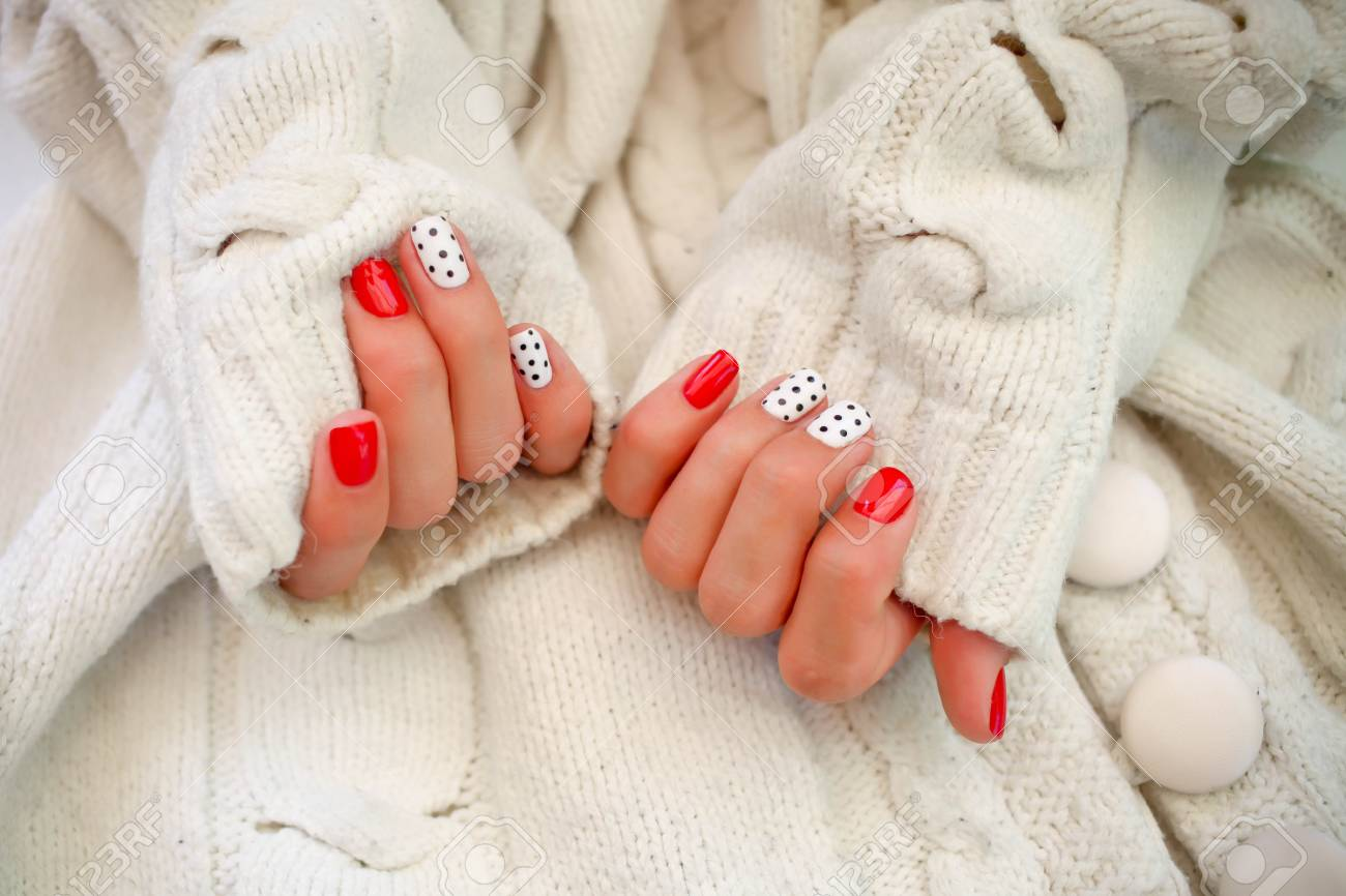 Beautiful Hands With Manicure In A White Sweater.Natural Nails ...