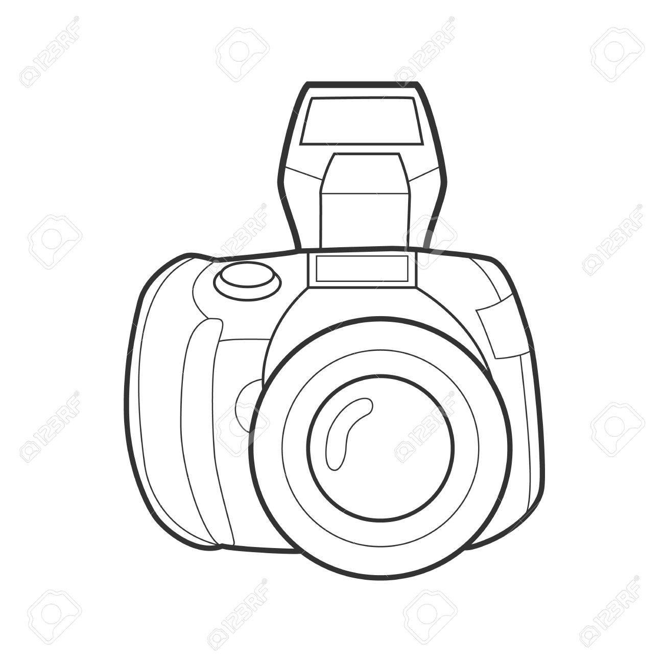 symbol photo camera icon for web site line art colorfull My Web Camera Hot symbol photo camera icon for web site line art colorfull illustration stock vector