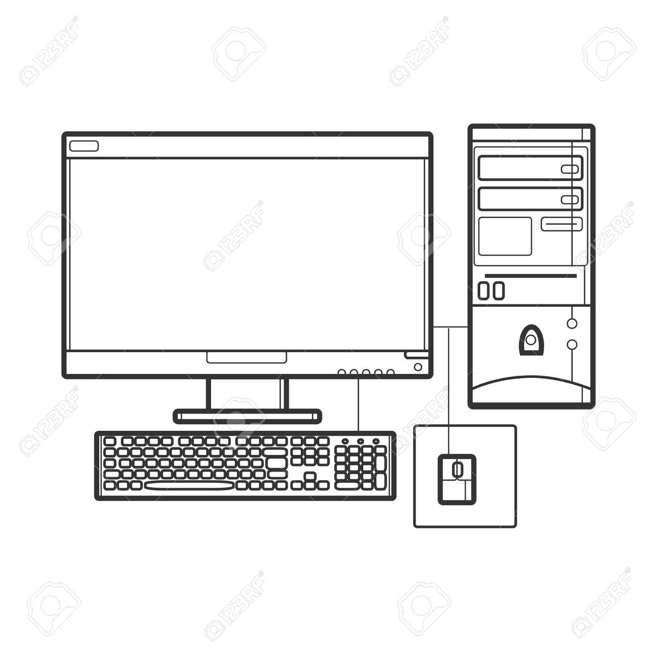 Symbol Desktop Computer Icon For Web Site Line Art Illustration