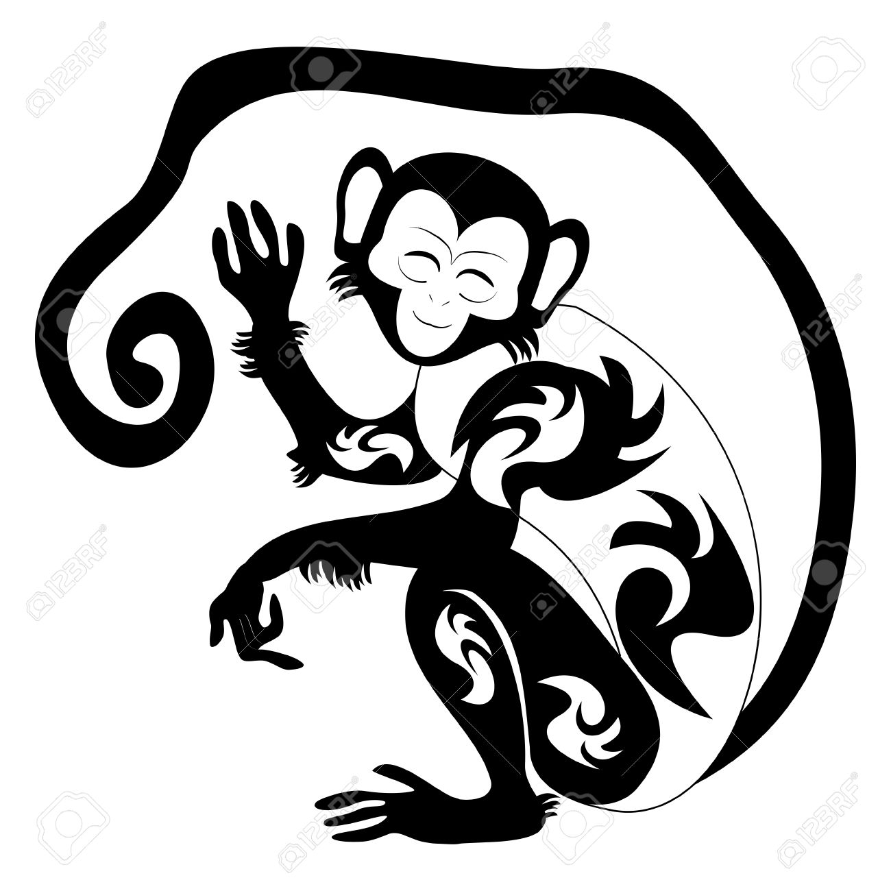 An Illustration Of A Stylised Monkey Perhaps A Monkey Tattoo Royalty
