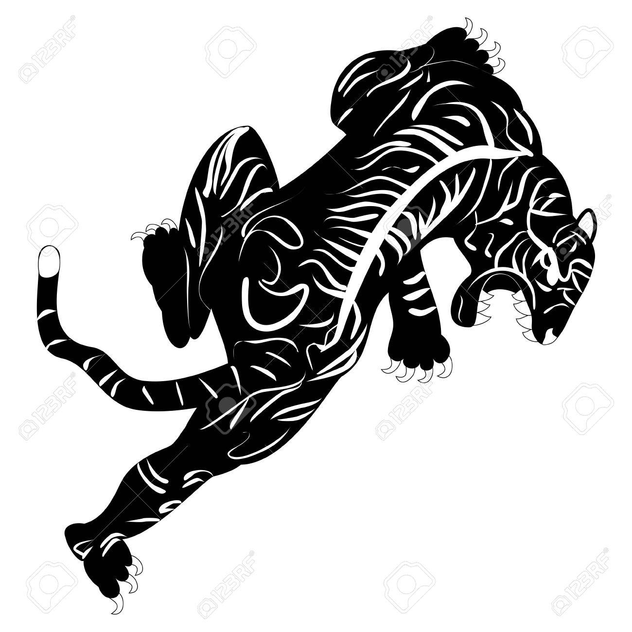 Black And White Monochrome Image Of Tiger Tattoo Royalty Free