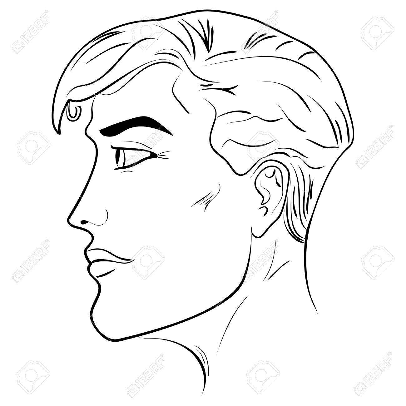 男性頭顔のクローズ アップ黒と白のイラスト男顔パターンの