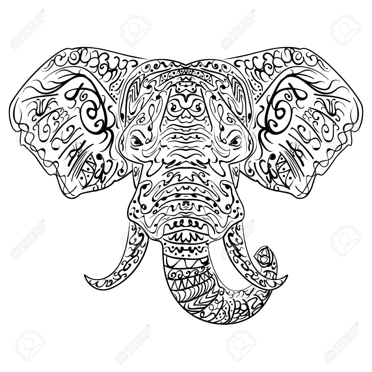 Ethnic Indian Elephant Boho Paisley. Freehand Sketch For Adult ...