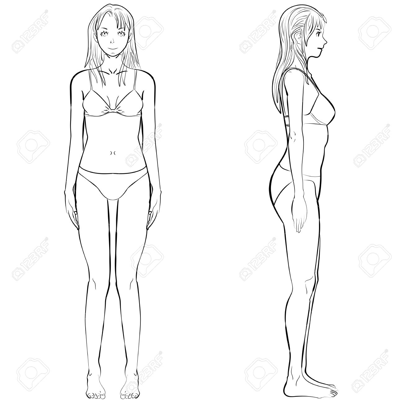 Sketch Template Girl Illustration Woman Body Front And Side View In Outline Stock Vector