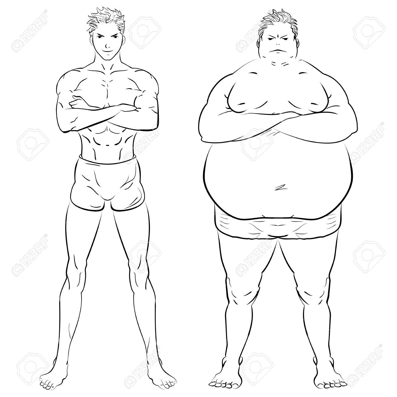 Dos Hombres Diferentes Gordo Flaco Y Musculoso Gimnasio De Entrenamiento De Pérdida De Peso Dibujado A Mano Ilustración Del Doodle