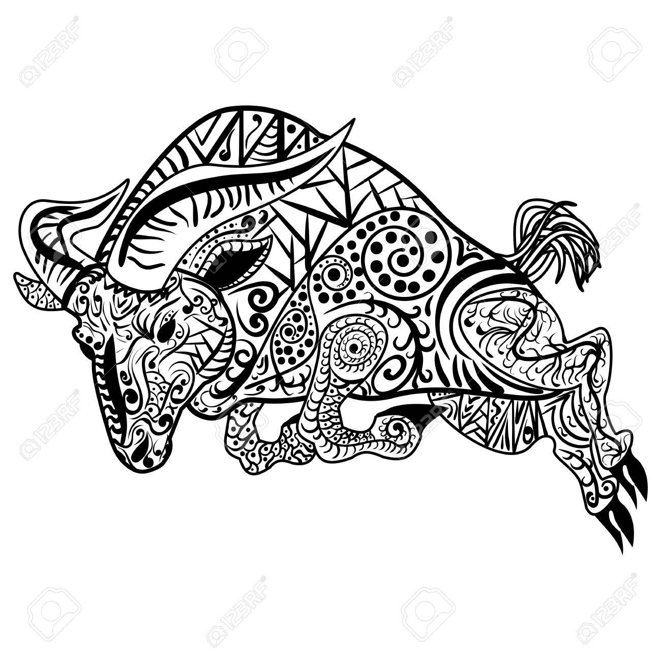 65c352af4 Vector - Zentangle stylized cartoon goat ram, aries, capricorn zodiac. Hand  drawn sketch for adult antistress coloring page, emblem, logo, ...