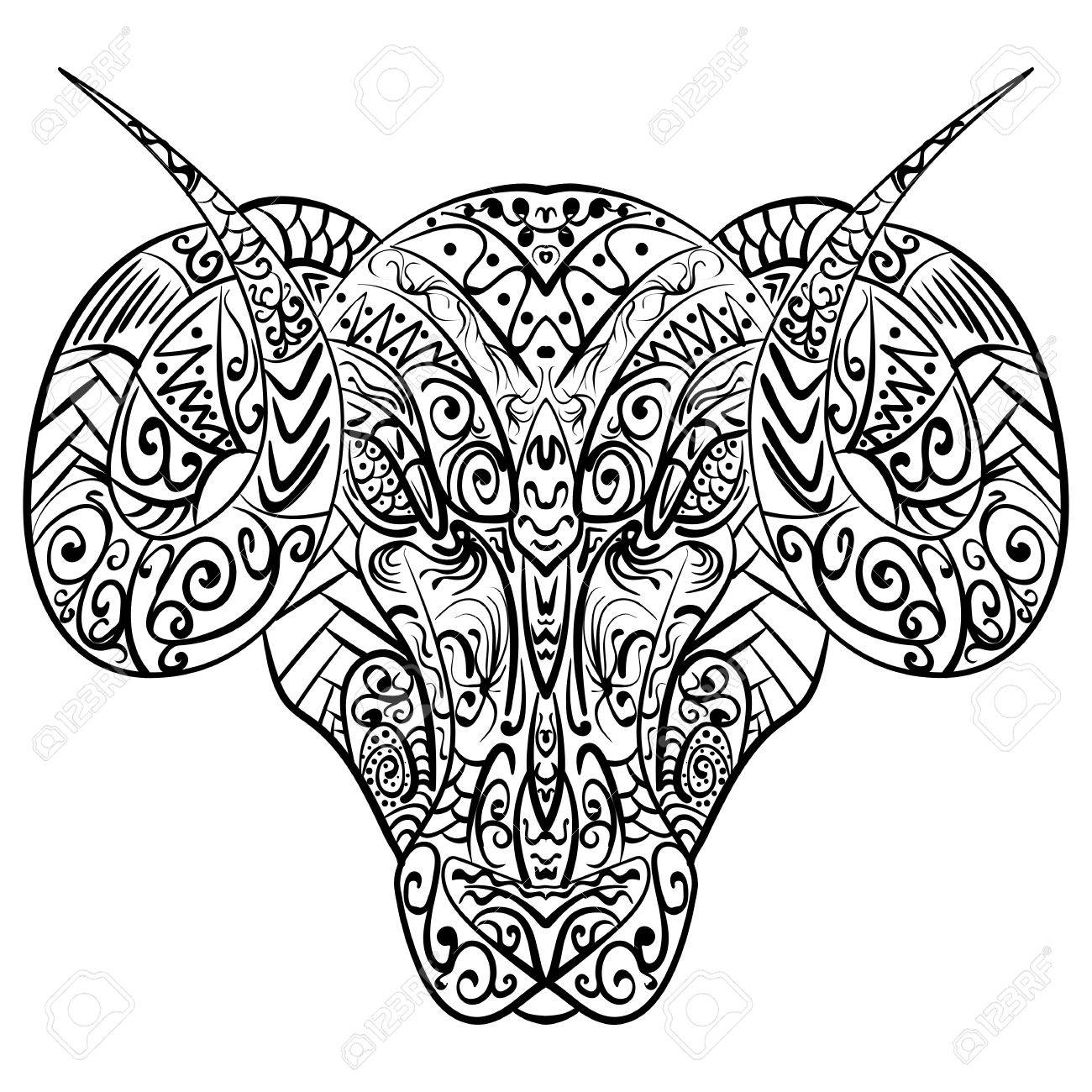 2706f92b7 Vector - Zentangle stylized cartoon goat ram head Hand drawn sketch adult  antistress coloring page zentangle vector illustration