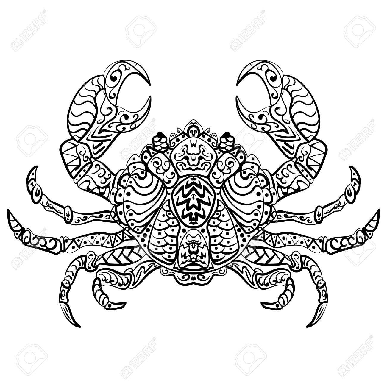 Zentangle Estilizada Vector Ilustración Mar Cangrejo. Dibujo En ...