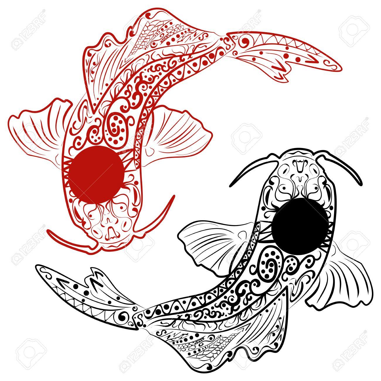 Dessin Japonais Carpe Koi zentangle stylisé poisson koi dessiné à la main. dessin de ligne de