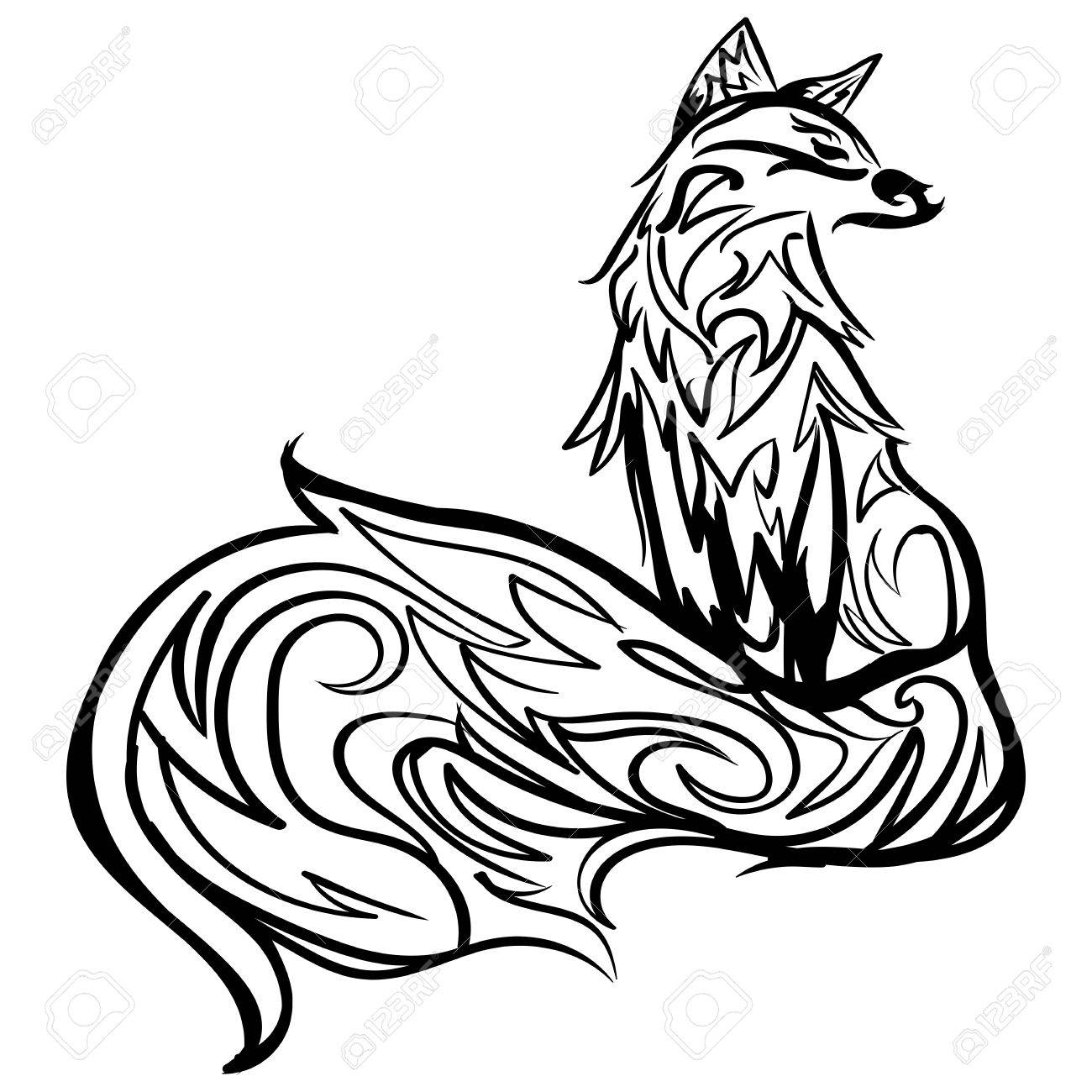 Stylized Fox Forest Animals Cute Fox Line Art Black And White