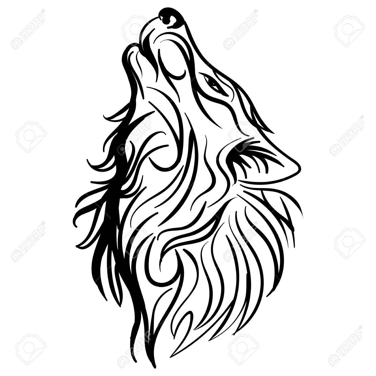 Tatuaje Tribal Del Diseño Del Aullido De La Cabeza Del Lobo