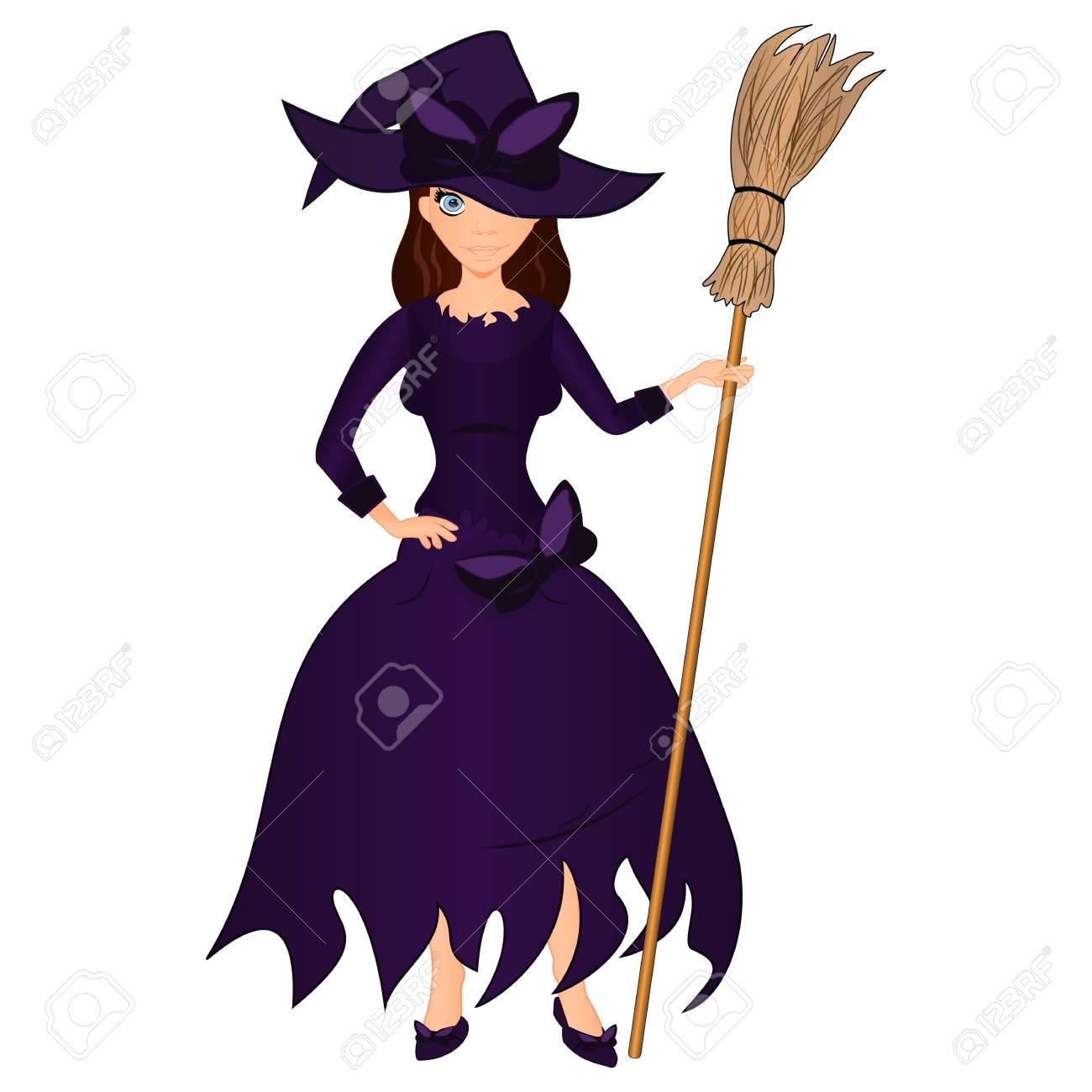 ハロウィーンの休日。かわいい女の子をほうきで魔女。白い背景にハロウィン イラストを漫画します。