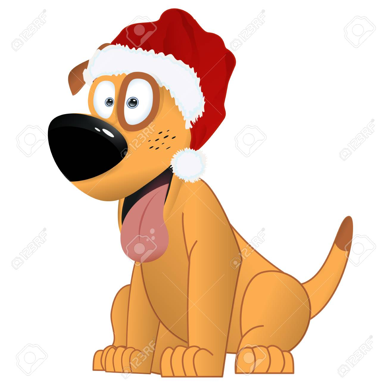 Cartoon Yellow Dog In The Santa Claus Hat Symbol Of The Year