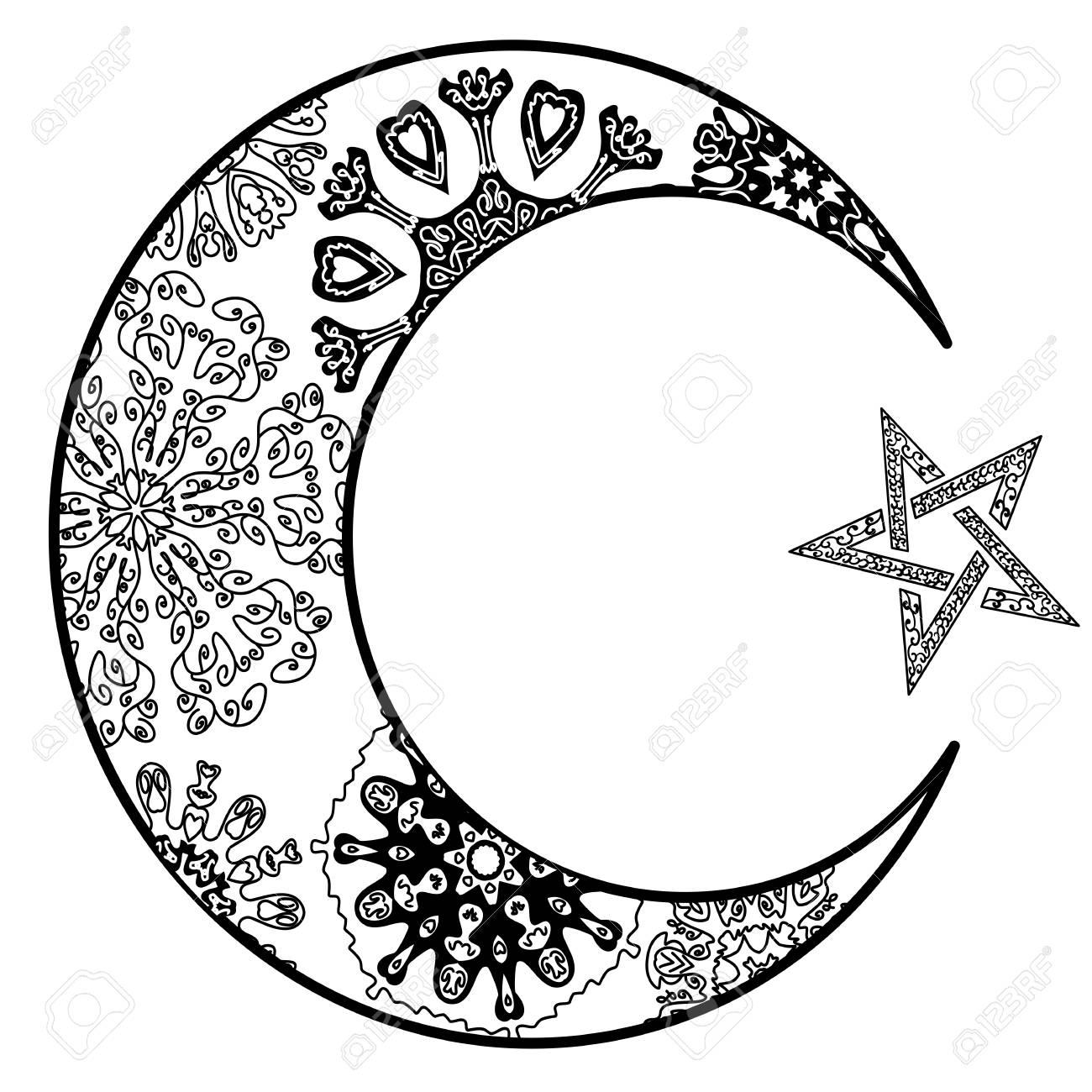 Dibujado A Mano Luna Nueva Y Estrella Para Anti Estrés Para Colorear