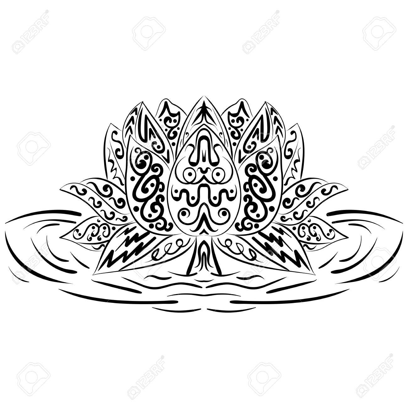 Lotus Flower Silhouette Water Lily Oriental Indian Chinese