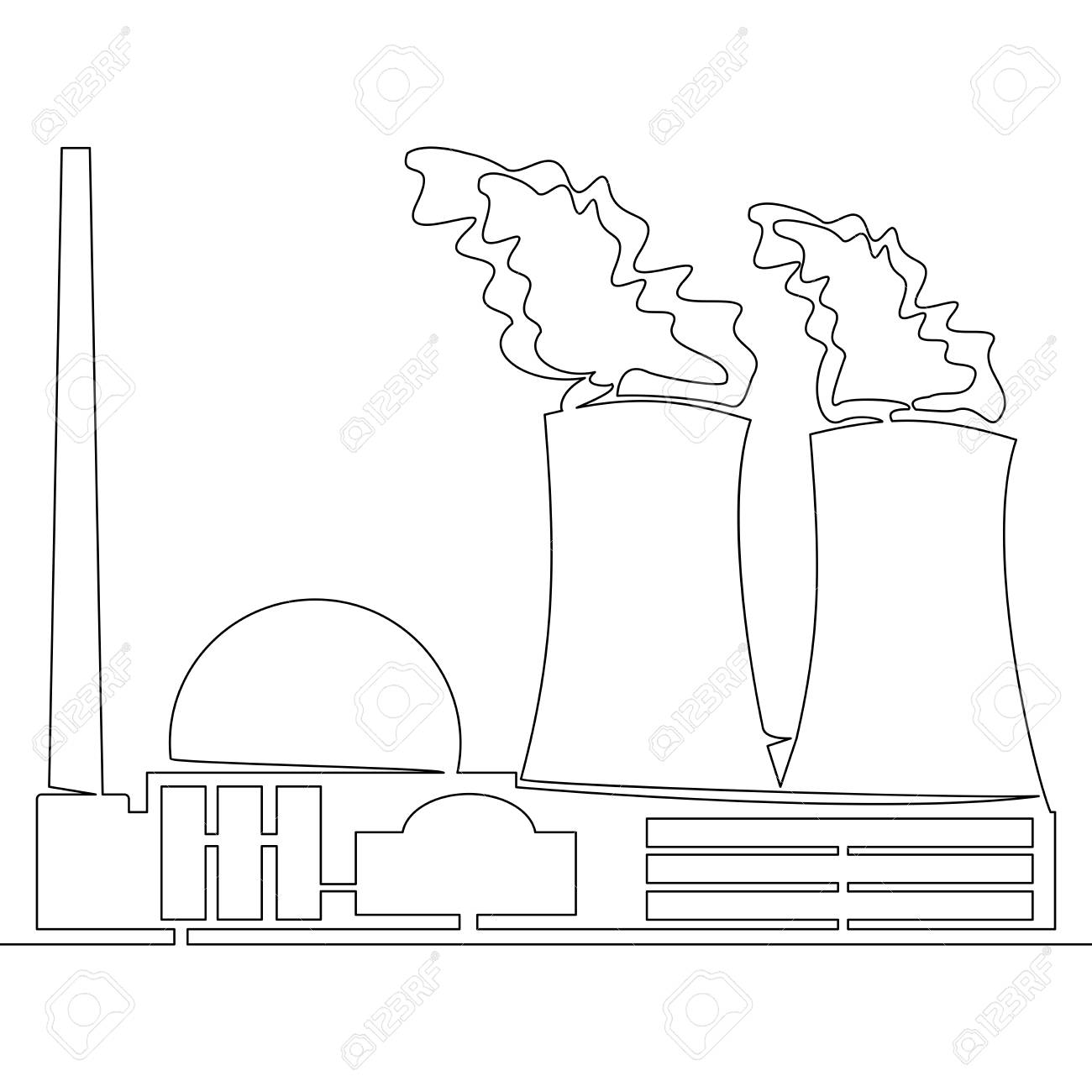 continuous line drawing nuclear power plant concept vector illustration  stock vector - 114497311