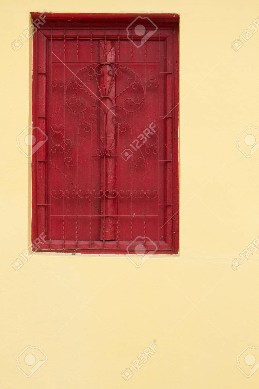 Traditional Thai style red door and window. Stock Photo - 20144577