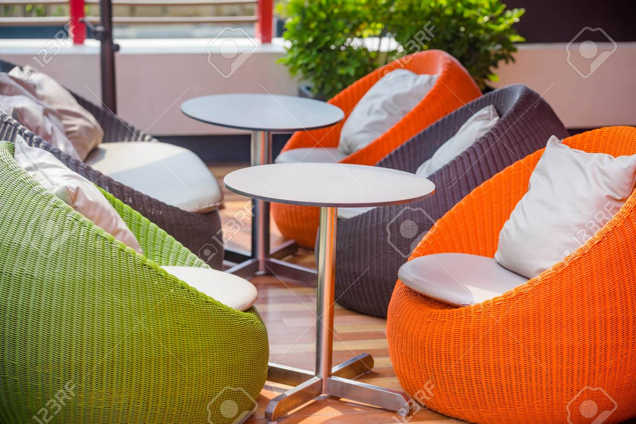 Colourful Outdoor Wicker Chairs With Cushions