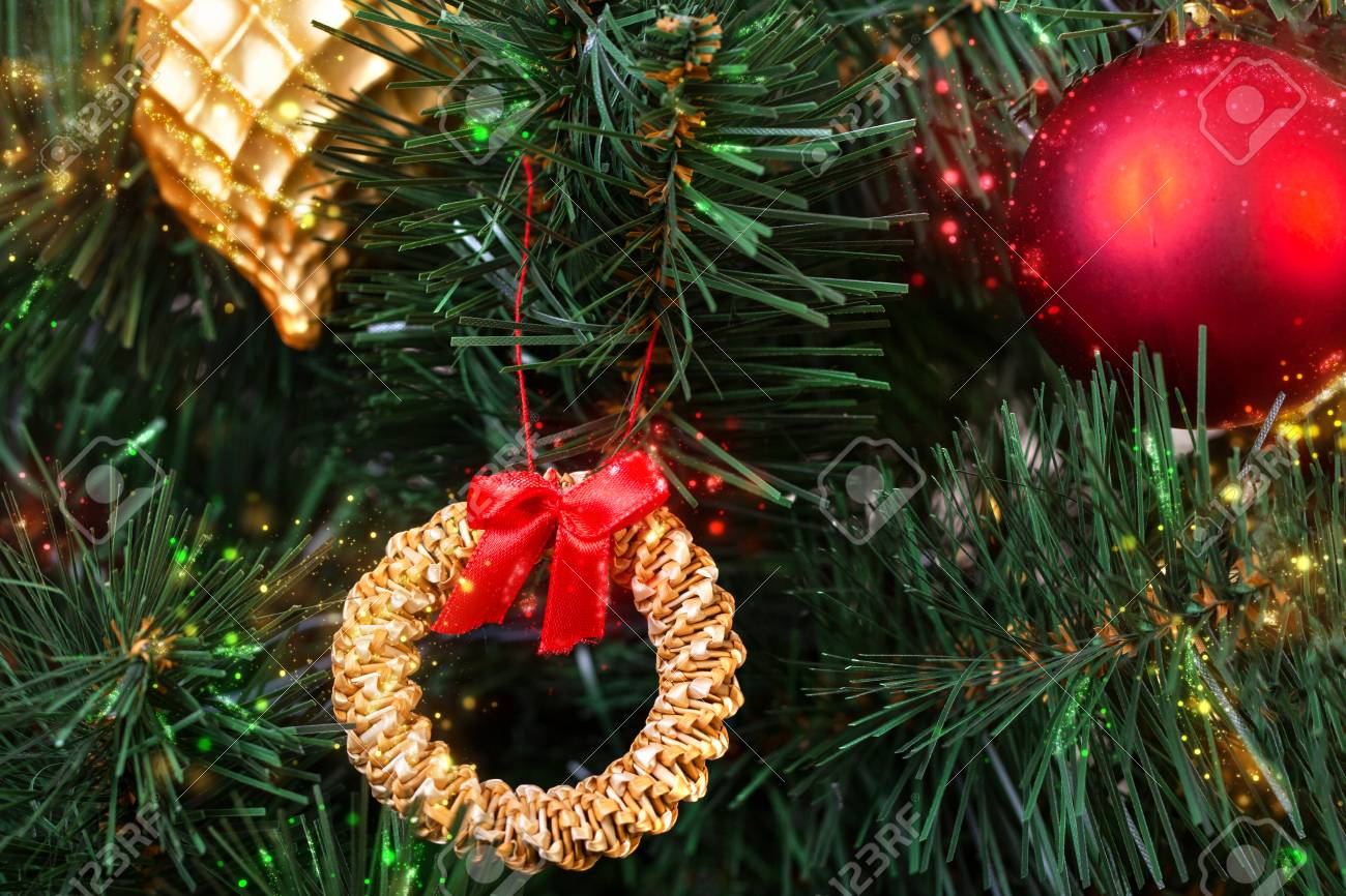 Vintage Artificial Christmas Trees.Gold Red And Straw Vintage Decorations In The Scandinavian Style