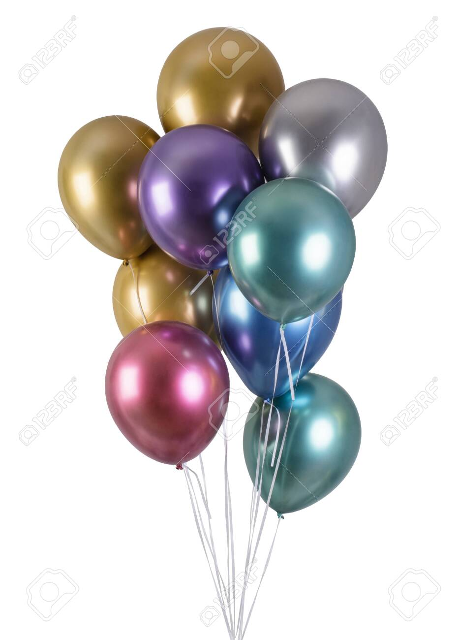 A bunch of multi-colored metallized balloons for party isolated on black background - 145141017