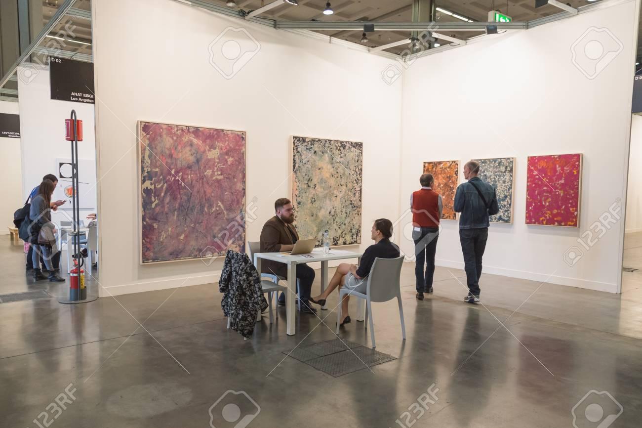 Milan Italy April 10 People Visit Miart International Exhibition
