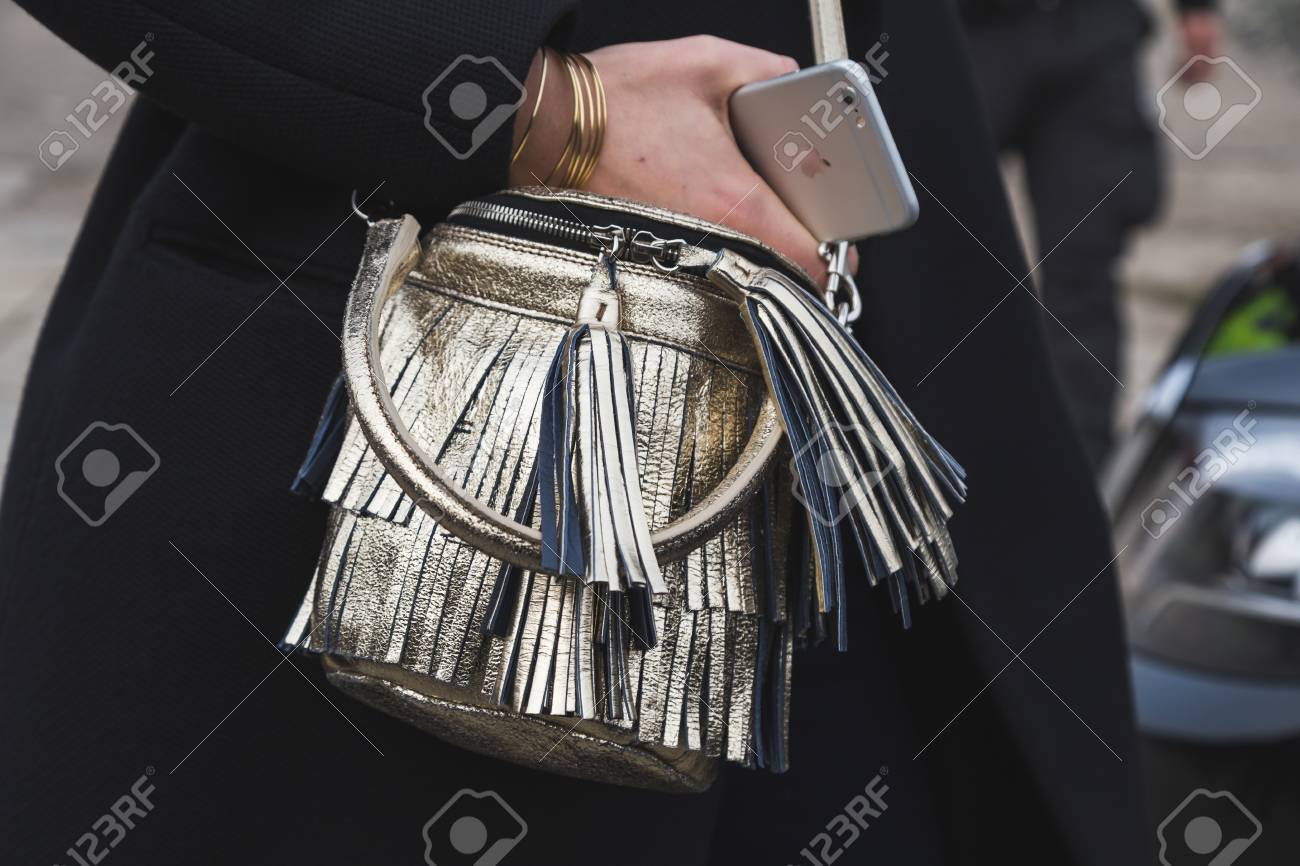 5d9fbdf4 MILAN, ITALY - FEBRUARY 24: Detail of bag outside Gucci fashion show  building for