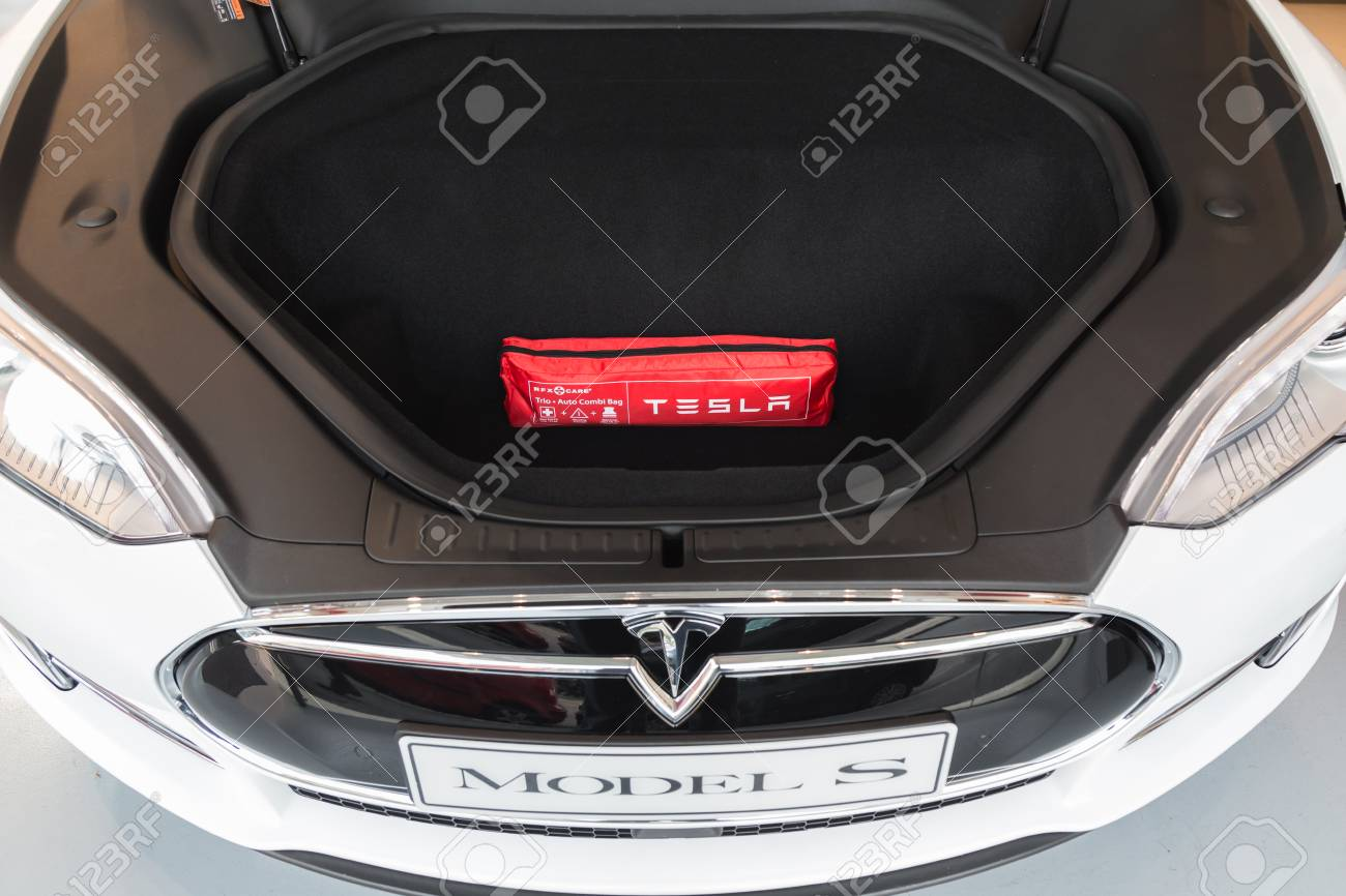 MILAN, ITALY - MARCH 31, 2016: Front trunk of Tesla Model S 90D